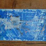 """""""Blau"""", Acryl/Collage, 40x120 sold"""