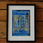 """""""Blau 1"""", Acryl auf Baumwollpapier mit Rahmen, 42x32, sold"""