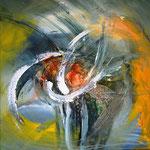 """Energie des Tages 20.02.2015"" Encaustic, Acryl und Lack auf Leinwand, 60x60 sold"