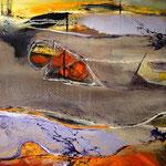 """""""Abstrakte Landschaft """" 80x80 mixed Media auf Leinwand, sold"""
