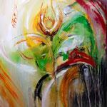 """Phantasyflower"" 80x80, 2015, mixed media auf Leinwand, sold"