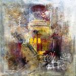 """Collage """"Vertrauen"""", Mixed Media auf Leinwand, 80x70, Sold"""