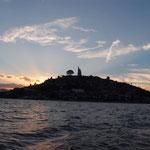 Die Insel Janitzio im Abendlicht