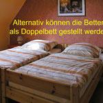großes Zimmer vorne, hier die Variante mit Doppelbett