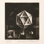 """""""Ikosaeder"""" ca. 20x27 cm  ohne Rahmen Mezzotinto Schabkunstblatt  50.-"""