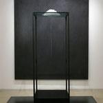 Janus - outlet / inlet      岩塩、糸、針、ガラス、鉄、他     h183 x w55 x d55 cm
