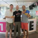 nach dem Radioauftritt mit Micha Imhoff und Simon Beeck