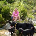 Kleine Erfrischung für die Hunde auf den Spazierwegen in den Bergen...