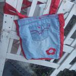 Jeans-Umhängetasche mit Satin