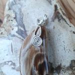Versteinertes Holz auf Silber, 45 x 19 x 9mm, 10gr.     €20