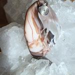 Rosa Botswana - Achat auf Silber, 47 x 26 x 12mm, 16gr.     €25