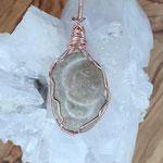 Fairy Stone - Feenstein auf Kupfer, rose, anlaufgeschützt, 60 x 26 x 7mm, 12gr.     €36     VORDERSEITE!!!
