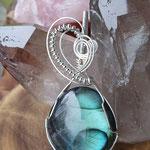 Labradorit auf Sterlingsilber mit Silberlinsen,  84 x 37 x 16, 40gr.     €108