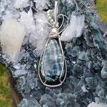 Serafinit auf Sterlingsilber mit Perle und Silberperlen, 72 x 21 x7mm     €80