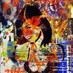 Betty Page ; 116x84 cmAerosol + Acryl auf Plakat