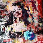 Gilda; 83x59 cm , Aerosol + Acryl auf Plakat
