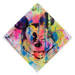 Mickey, 100 cm x 100 cm, Acryl + Lack + Aerosol auf Leinwand; Foto: Gunter Hahn