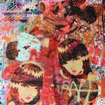 Emily the strange + Micky; 83x59 cm , Aerosol + Acryl auf Plakat