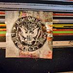 """""""The Ramones"""" , ca. 150cm x 150cm, Aerosol + Edding auf Aluminium + 16 Schallplattencovern"""