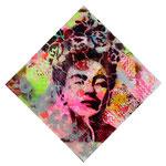 Frida, 100 cm x 100 cm, Acryl + Lack + Aerosol auf Leinwand; Foto: Gunter Hahn