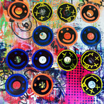 """Nirvana"", ca. 160 cm x 160 cm, Acryl, Aerosol auf Leinwand + 14 Schallplatten"