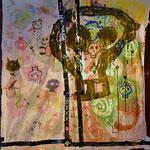 """The Nailiks"", ca. 170 cm x 170 cm, Acryl, Aerosol auf Leinwand + Gaffatape (Künstler: Kilian Pinter)"