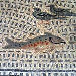 Details des erst 1966 ausgegrabenen Oceanusmosaiks