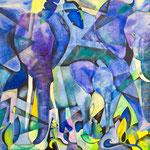 Blaue Elefanten 90cm x 110 cm