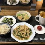 6月10日水曜日、Ohana夕食「鶏むね肉のチンジャオロース、かぶと厚揚げの煮物、きゅうりとわかめとかまぼこの胡麻和え、みそ汁」
