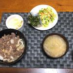 4月3日金曜日、Ohana夕食「プルコギ丼、コールスロー、菜花の辛子醤油和え、たぬき奴、みそ汁(大根、ねぎ)」