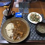 9月10日金曜日、Ohana夕食「ポークカレーライス、ひき肉のゴーヤチャンプルー、オニオンスープ、ヨーグルト」