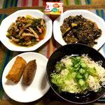 8月2日金曜日、Ohana夕食「青椒肉絲、麻婆茄子、そうめん、お稲荷さんx2個、ヨーグルト」