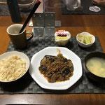 10月4日月曜日、Ohana夕食「マーボーナス、もやしときゅうりのナムル、中華たまごスープ、プリン」