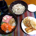 5月5日日曜日、Ohana夕食「海鮮丼、ぶっかけそば、天ぷら(ごぼう、人参、玉ねぎ、竹輪)」