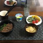 8月16日月曜日、Ohana朝食「ほうれん草tそぼろの二色丼、おかひじきのツナマヨしょうゆ和え、かぼちゃの甘煮、みそ汁(油揚げ、白菜)、ヨーグルト」