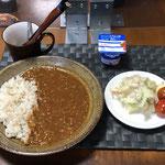 6月11日金曜日、Ohana夕食「キーマカレーライス、ポテトサラダ、ヨーグルト」