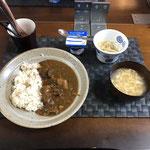 9月28日月曜日、Ohana朝食「カレーライス、たまごスープ、もやしナムル、ヨーグルト」