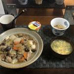 11月29日日曜日、Ohana夕食「中華丼、あんかけ玉子中華スープ、もやしのナムル、プリン」