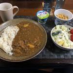 6月28日日曜日、Ohana朝食「カレーライス、サラダ(キャベツ、キュウリ、プチトマト、リンゴ)、切り干し大根、ヨーグルト」