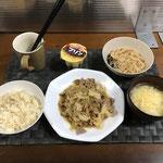 10月10日日曜日、Ohana夕食「回鍋肉風味の野菜炒め、麻婆春雨、中華スープ、プリン」