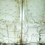 Historischer Plan vom Bergbau in Ferrera 1750