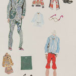 ※ Drawing20(SENSEのときはグッチ大丸京都の紳士服のマネキンのはく靴)、380×270、鉛筆 パステル他 紙、2016
