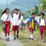 Pupils on their way home from school