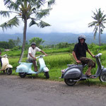3 Vespas with their drivers hope to see YOU soon!