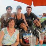 having finished the tour - happy at the beach (Pantai Penimbangan, Singaraja)