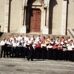 1995, devant le parvis de l'église de Bessèges