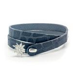 Super weiches anschmiegsames Kalb-Leder -grau-blau- mit exclusiven TUYA Designs Edelweiß-Verschluß € 39,-