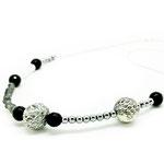 Halskette -925-Silber, ca 45cm, Edelsteine und Lederperlen 59,-