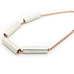-925- Silberkette rosé vergoldet mit silberfarbenen Elementen