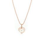925- rosé vergoldete Halskette mit feinem Blättchen und kleiner weißen Süßwasserzuchtperle
